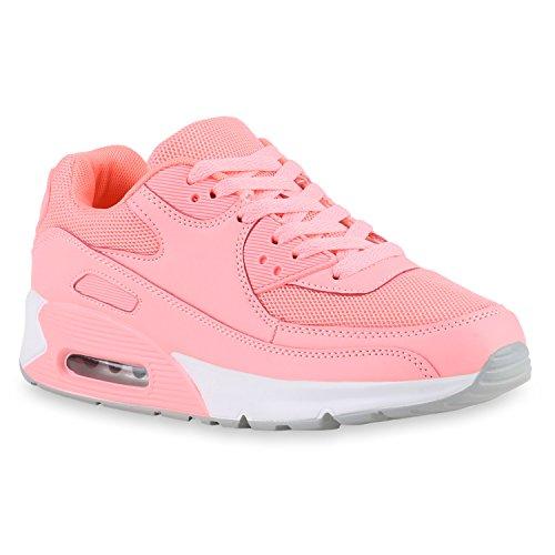 Trendige Unisex Laufschuhe | Damen Herren Kinder | Sportschuhe Metallic Glitzer | Camouflage Sneaker Bunt | Schnür Sport Turnschuhe Rosa Camargo