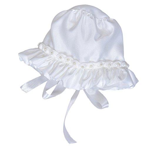 Happy Cherry Taufmütze Baby Hut Baby Mütze für 3-15 Monate - Weiß