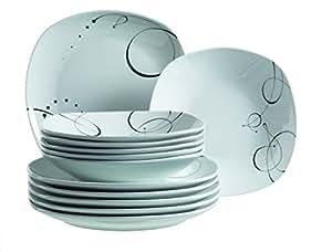 Domestic by Mäser, Serie Chanson, Servizio da tavolo da 12 pezzi, per 6 Persone