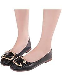 Zapatos casual mujer tacón bajo,Sonnena Zapatos de punta cuadrada de color sólido para mujeres Slip On Low Heel Zapatos planos Zapatos individuales