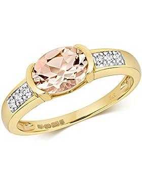 Funkelndes Feuer 9 ct/Karat Gelb Gold Damen - Diamant Ring Brillant-Schliff 0.06 Karat mit Morganit