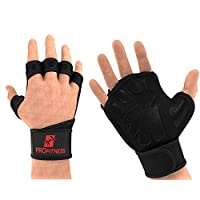 ProFitness Weight Lifting Ventilated Gloves Cross Training Gloves (X-Large, Black/Red)