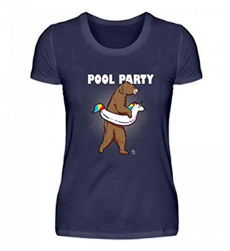 EBENBLATT Bear Unicorn Pool Party Bär Einhorn Einhörner Unicorns Schwimmer Schwimmen Swim Geschenk - Damenshirt