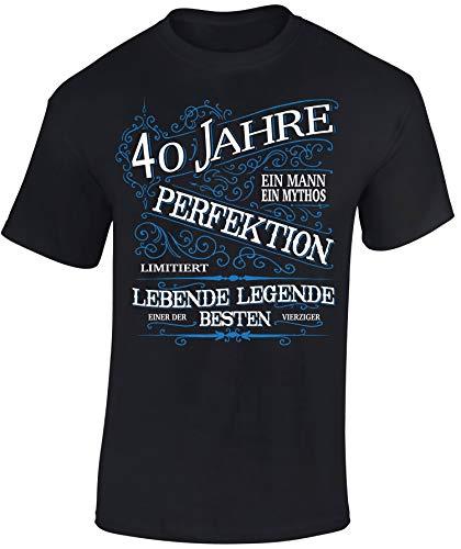 Geburtstags Shirt: 40 Jahre Perfektion - Vierzig-Ster Geburtstag T-Shirt - Geschenk zum 40. - Frau-en - Mann Männer - Damen & Herren - Lustig - Birthday - Jahrgang 1979 (XL)