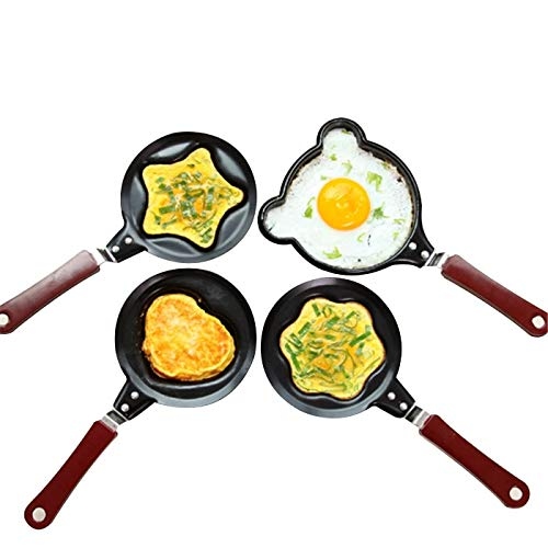 YIMIA Egg Frying Pancakes Kitchen Pan with Stick Housewares Mini Pot DIY Shapes Healthy Nonstick Cooking Tools (Black) Non Stick Pancake Pan