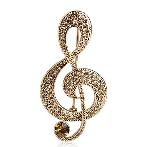 CCJIAC Charmante große Retro Musik Note Vintage Schmuck Antisilber Kristall Brosche Antik Fleur De Lis Broche Coroa Lady Pin Bluse