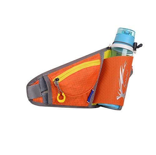 Ibssports Hüfttasche Multi-Funktion Gürteltasche Wasserabweisende Bauchtasche Flache Taille Tasche mit Flaschenhalter und Telefon Earp lüg Draht Loch zum Sport und Reisen Orange