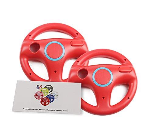 Wii U Wii Lenkrad Original Weiß für Rennspiele Mario Kart Racing Wheels rot 2 Pack Mario Red (Kart Wheel 8 Mario Racing)