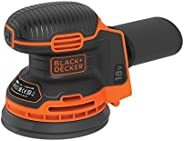 Black+Decker Cordless Random Orbit Sander with Dust Collector, 18V, Battery not included - BDCROS18N-XJ, 2 Yea