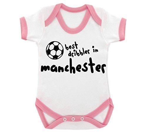 Funny Best Schleimer in Manchester Design Baby Body mit Baby Pink Kontrast Trim und schwarz print Gr. 6-12 Monate, rose Manchester Trim
