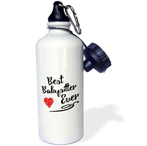 Best Babysitter Ever Design in schwarz mit rot Swirly Herz Sport Wasser Flasche Edelstahl-Flasche für Frauen Herren Kinder 400ml