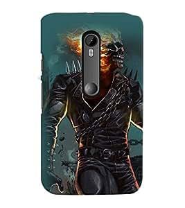 Printvisa Burning Skeleton Haunted Pic Back Case Cover for Motorola Moto G3::Motorola Moto G (3rd Gen)
