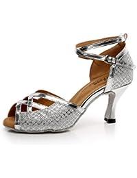 JSHOE Frauen Lace Bedruckte Mesh Tanzschuhe Latin Salsa/Tango/Tee/Samba/Modern/Jazz Schuhe Sandalen High Heels,Black-heeled8.5cm-UK4/EU35/Our36