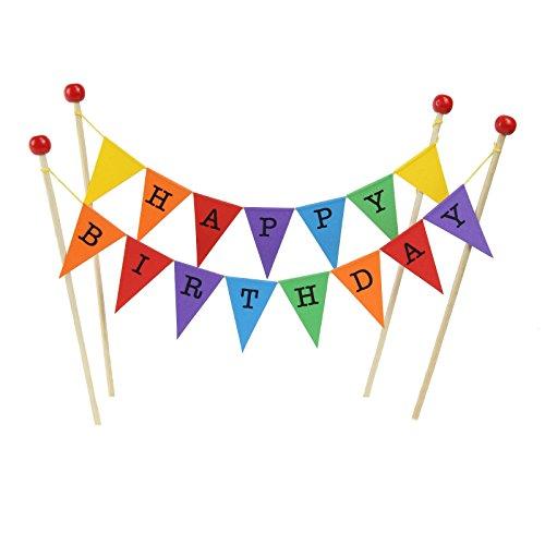 amazing buntings Geburtstagskuchen Dekoration, Regenbogen, Große Fahnen, 4 Bambus Sticks mit Holzperlen