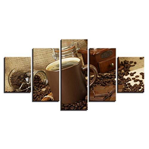YJHCZC Wohnkultur Leinwand Hd Gedruckt Poster Rahmen 5 Stücke Wandkunst Kaffee Und Schokolade Malerei Modulare Bilder Für Wohnzimmer -