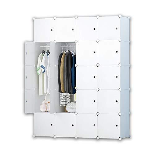 iBlockCube DIY Tragbarer Kleiderschrank, modularer Aufbewahrungs-Organizer, platzsparender Armoire, tiefer Würfel mit Hängestange, 12 Würfel, 20 Cubes - Cube Kleiderschrank