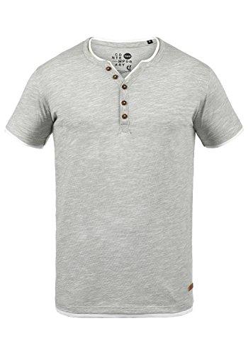 !Solid Bigos Herren T-Shirt Kurzarm Shirt mit Grandad-Ausschnitt im Double-Layer Look Aus 100% Baumwolle Meliert, Größe:M, Farbe:Monument (2545)