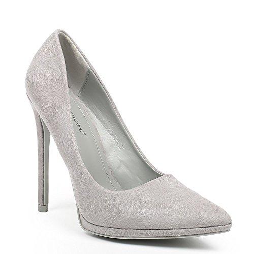 Ideal Shoes–Escarpins effetto camoscio noeva Grigio