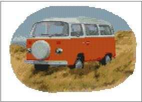 Volkswagen-VW-T2-Camper-Orange-Dunes-Cross-Stitch-Kit-10-x-7