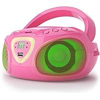 auna Roadie Ghettoblaster Boombox (CD-Player, USB-Port, MP3, Radio, Bluetooth 2.1, LED) pink