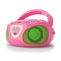 auna Roadie �?? Boombox �?? CD player �?? USB port �?? MP3-compatible �?? FM/AM radio �?? Bluetooth 2.1/EDR �?? 3.5 mm AUX input �?? Multi-colour LED �?? 2 x 1.5 Watt RMS power �?? Grid and battery operation �?? Pink
