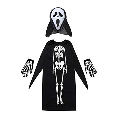 (Erwachsene/Kind Halloween Vampir Erwachsene Mantel Skelett Schädel Teufel Geist Robe Halloween Kostüm Skelett Mantel Umhang + Horror Maske + Handschuhe drei Stücke von Halloween Cosplay Prevently (Colour A, Kind))