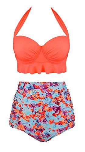 Angerella Damen Floral Swimwear High Neck Orange Bikini High Waite Swimsuit für Junioren,Orange,4XL