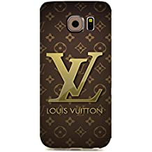 Brown Backgound Printed Case Louis and Vuitton Luxury Logo Customized Thin Durrable Plastic 3D Case Cover For Samsung Galaxy S6 Edge_3D