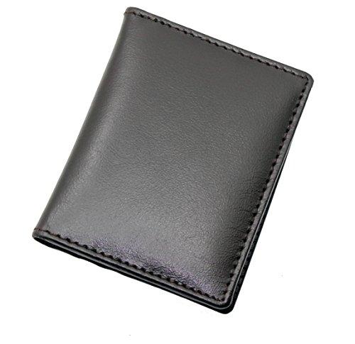 TOPSUM LONDON design ultra sottile in pelle due volte mini carta di credito del portafoglio scatola regalo # 4022 (Nero)