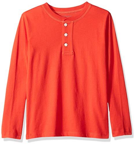 LOOK by crewcuts Jungen Langarm Henley-Shirt, rot, Medium (8) US -