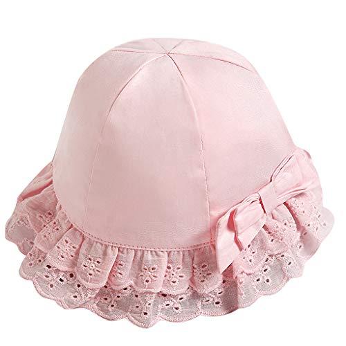 Louyihon-Kleidung Kinderhat Infant Kids Baby Mädchen Lace Bowknot Beach Cap Prinzessin Sonnenhut Schutzhüte für Schule, Reisen, Klettern, Reiten, tägliches Tragen (Rosa, 52)