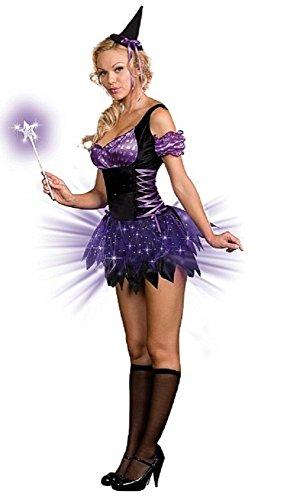 Damen Sexy leuchtend schwarz/lila Hexe Halloween Kostüm Kleid Outfit mit Zauberstab UK 6-18 - Schwarz, 16-18 (Halloween-kostüme Uk Hexe)