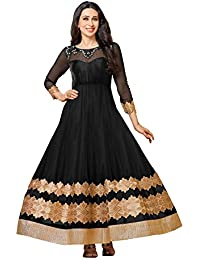 MF Next Stylish Black Net Embroidered Anarkali Suit For Women