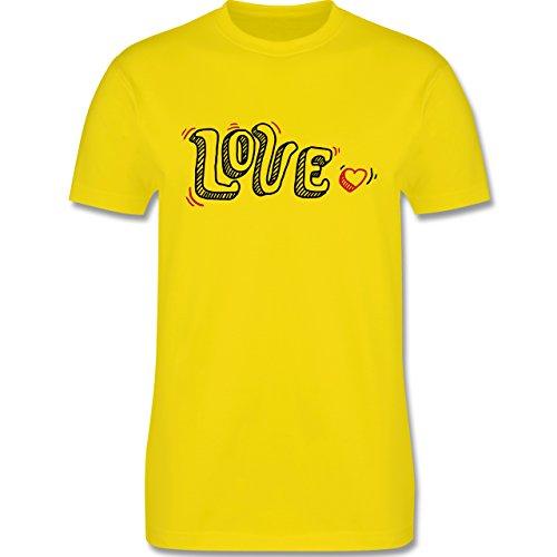 Valentinstag - Love Schrift mit Herz - Herren Premium T-Shirt Lemon Gelb