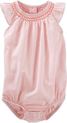 OSHKOSH B'gosh Blusenbody Body unter Latzhose Baby Spieler Sommer Bluse Shirt für Mädchen (0-24 Monate) (18 Monate, rosa)