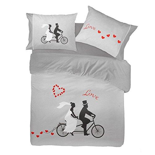 Completo lenzuola Pierre Cardin Love Bike stampa digitale 4D Matrimoniale P119