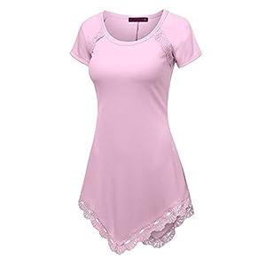Tunika Kleid Damen Kurzarm Bluse Elegante Vintage Plain T-Shirts mit Asymmetrische Blumen Spitze Saum Slim Fit Sweatshirts Stretch Frühling Sommer Casual Tops Tägliche Party Kleider