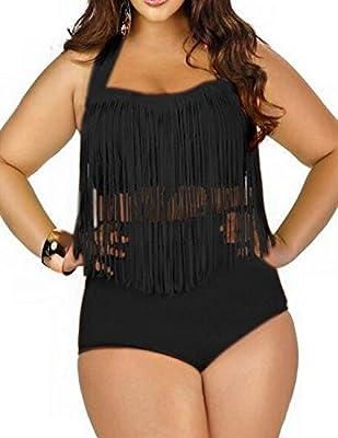 ZAIQUN Dos Piezas Borlas Grande Bikini Ropa de Playa Tamaño Cintura Alto Vestido de Baño