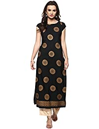 Ives Straight Black Crepe Printed Kurti For Women