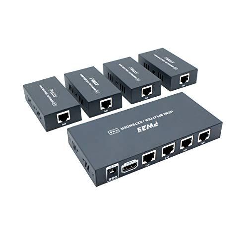 PW-HT226P4(POC) 1X4 Port HDMI Splitter Extender/Verteiler Ultra HD 1080P Ohne Verzögerung 165ft(50m) über CAT5/5e/6/7 Kable Unterstützt EDID(1 In 4 Out) Hdmi-verteiler Über Cat5