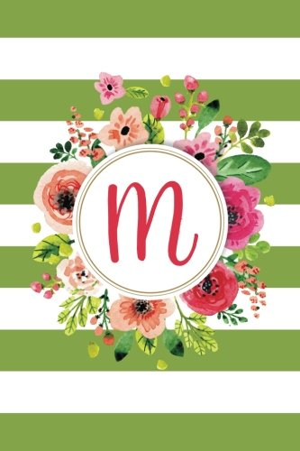M (6x9 Journal): Lined Writing Notebook with Monogram, 120 Pages - Olive Green Striped with Pink, Orange, Magenta, and Fuchsia Watercolor Flowers (Olive Floral, Band 13) - 13'6 Oliven