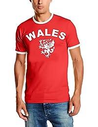 EM 2016 WALES T-SHIRT mit Deinem NAMEN + NUMMER ! WALES Fußball Trikot Ringer weiß oder rot S M L XL XXL