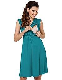 Zeta Ville - Premamá Vestido de Lactancia Efecto 2 en 1 Capa - para Mujer - 808c