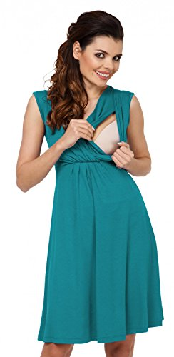 *Zeta Ville – Damen Still Kleid Diskretes Stillen Skaterkleid Schwangere – 808c (Wasser, EU 44, 2XL)*