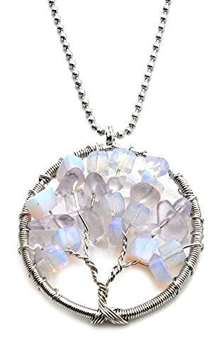 UGsLTyVqv Baum des Lebens Halskette mit Natursteine   Opal Organza-Geschenk enthalten.