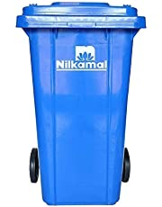 E-Ware Big Garbage Waste NIlkamal Trash Bucket Dustbin with Lid and Strong Wheels (Blue Color) Capacity -120 Liters
