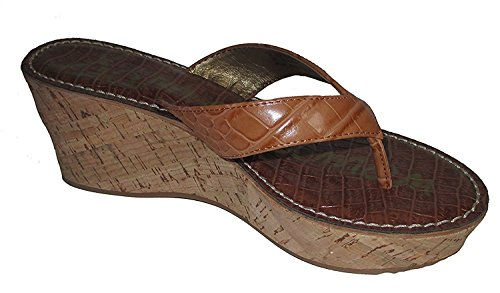 Sam Edelman Womens Romy Croc Wedge Sandals Saddle