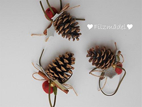Tannenzapfen weihnachtlich, 3er Set - Home Tannenzapfen