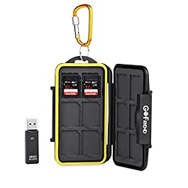 GoFriend® Memory Card Carrying Case Holder Professional Waterproof Compact Flash Travel Protector Storage Cover for SD SDHC SDXC with Carabiner & Card Reader