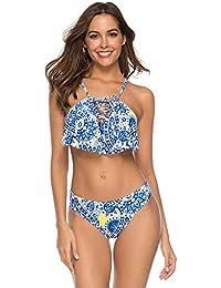 6a5d483b6 Bikini particulado Bañador para mujer Conjunto de bikini de dos piezas con  estampado floral Traje de baño Traje de baño…